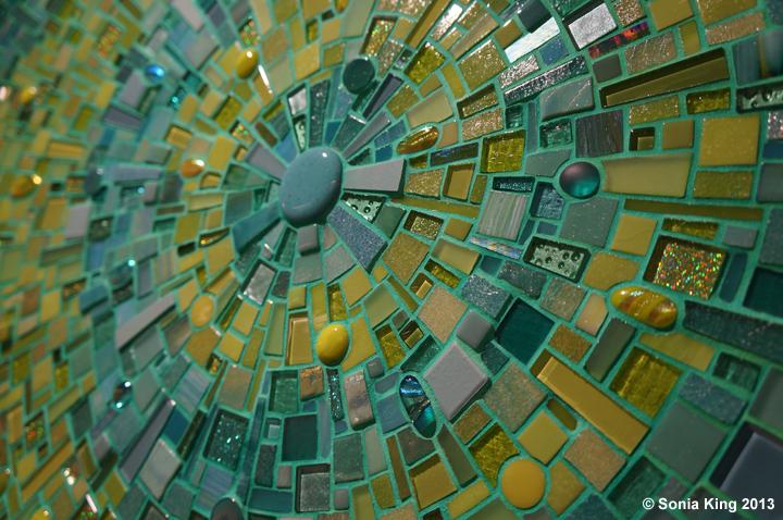 Aquasphere mosaic installation by Sonia King Mosaic Artist