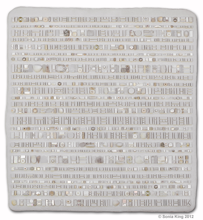 Coded Message: Invisible Ink II mosaic by Sonia King Mosaic Artist