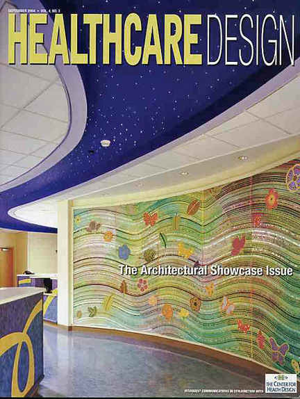 Healthcare Design Magazine cover featuring mosaic by Sonia King Mosaic Artist