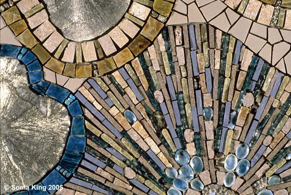 Adrift mosaic (detail) by Sonia King Mosaic Artist