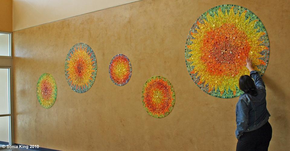Aurora mosaic installation by Sonia King Mosaic Artist