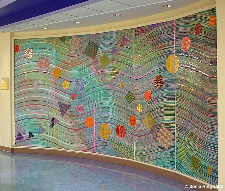 Shapes mosaic wall by Sonia King Mosaic Artist