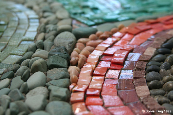 Riverscape mosaic (detail) by Sonia King Mosaic Artist