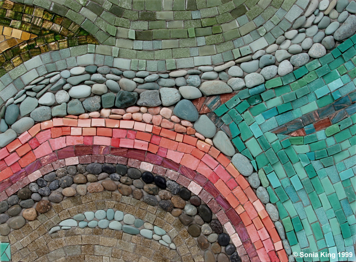 Riverscape mosaic by Sonia King Mosaic Artist
