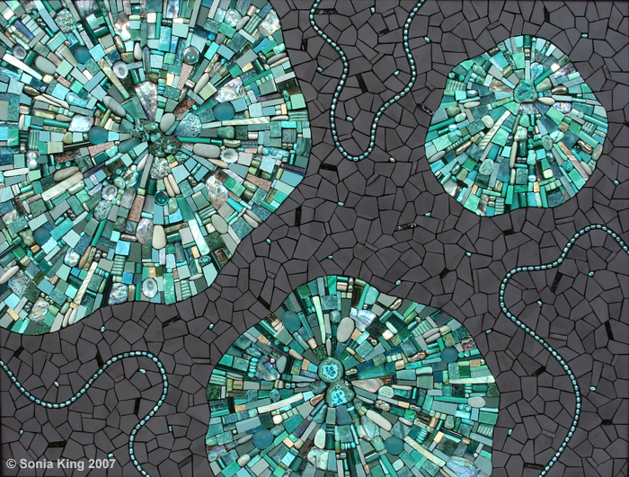 Spinoff mosaic by Sonia King Mosaic Artist