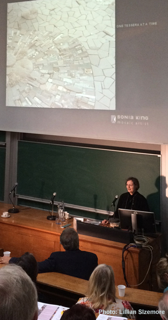 Sonia King speaking at the British Association for Modern Mosaic conference in London